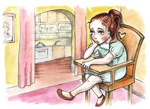 Little girl sitting in a chair. Bored face stock illustration
