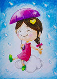 Little girl sitting on cloud with umbrella in hand and raindrop Stock Photo