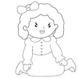 Little girl sitting coloring page. Useful as coloring book for kids Stock Image