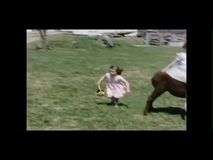 Little girl sitting on a donkey while other kids play in field stock video