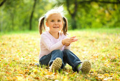 Little girl is sitting on green meadow Stock Photography