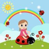 Little girl sitting on a ladybug. Stock Photography