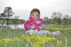 Little girl sitting near a lake in yellow flowers Stock Image