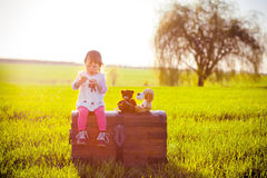 A little girl is sitting on the old chest in the middle of the meadow. Royalty Free Stock Photography