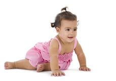 Little Girl Sitting On The Floor Stock Photos