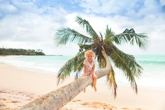 Girl on palm tree. Little girl sitting on a palm tree stock images