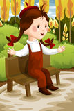 Girl in the park character cartoon style  illustration Royalty Free Stock Photo