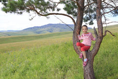 Little girl sitting on a pine tree Royalty Free Stock Photography