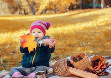 Little girl sitting on a plaid maple leaves. Royalty Free Stock Photos