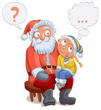 Little girl sitting on Santa's lap Royalty Free Stock Photography