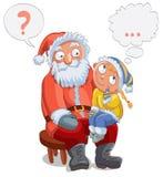 Little girl sitting on Santa's lap stock illustration
