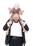 Little Girl Sitting on Shoulders Man Have Fun Stock Photo