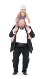 Little Girl Sitting on Shoulders Man Have Fun Stock Photos
