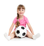 Little girl sitting with soccer ball  Royalty Free Stock Image