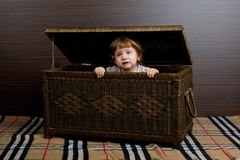 Little girl sitting in suitcase Stock Image