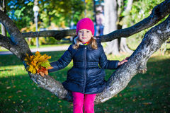 Little girl sitting on tree branch in autumn park Stock Photography