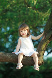 Little girl sitting on the tree Stock Photography