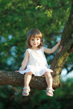 Little girl sitting on the tree Stock Images