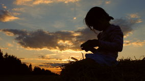 Little girl sitting in a wheat field on a haystack. A child playing with a tablet. 4K 30fps ProRes stock footage