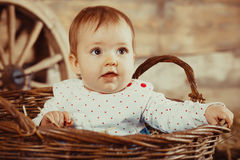 Little girl sitting in a wicker basket Royalty Free Stock Photo