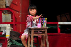 Pengzhou, China: LIttle Girl Drawing Royalty Free Stock Photo
