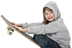 Little girl with skateboard Royalty Free Stock Images