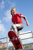 Little girl -  skateboarder Stock Images