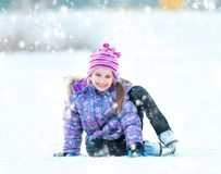 Little Girl Skating Royalty Free Stock Images