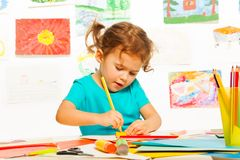 Little girl sketching Royalty Free Stock Photo