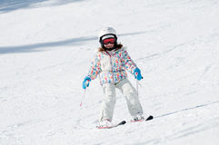 Little girl skiing Royalty Free Stock Images