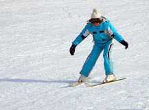 Little girl skiing downhill Royalty Free Stock Photography