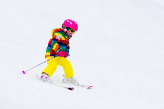 Little girl skiing in the mountains Royalty Free Stock Photography