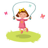 Little girl skipping rope. Little cartoon girl skipping rope. Vector illustration Stock Image