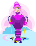 Little girl on skis. Vector Illustration. Little girl on skis on a background of nature Stock Image