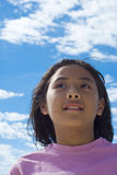 Little girl on the sky. Picture of a heavenly blue sky with the suns rays shining from above Stock Photos