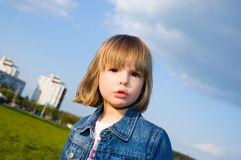 Little girl and the sky Royalty Free Stock Photo