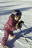 Little girl and slalom Stock Image
