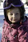 Little girl and slalom Stock Images