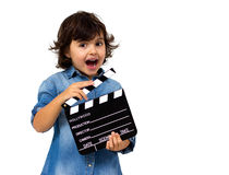 Little girl with slate Royalty Free Stock Photos
