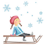Little girl on the sled Stock Photography