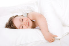 Little girl sleeping royalty free stock photos