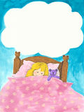 Little girl sleeping. Acrylic illustration of little girl sleeping Stock Image