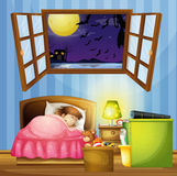 Little girl sleeping in the bedroom Royalty Free Stock Images