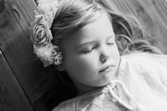 Little girl sleeping black and white Stock Images