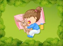 Little girl sleeping with bunny doll. Illustration Royalty Free Stock Photos