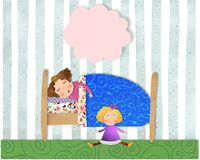 Little girl sleeping. Colorful graphic illustration. Quilt design Stock Photo