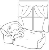 Little girl sleeping coloring page. Useful as coloring book for kids Royalty Free Stock Photography