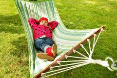 Little girl sleeping in hammock Royalty Free Stock Photography