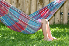 Little girl sleeping in hammock Stock Image