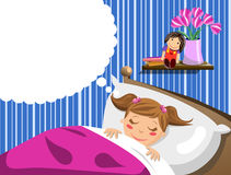 Little Girl Sleeping and Having Dreams. Illustration featuring a cute little girl sleeping and having dreams in bed. Anything can be inserted into the thought Stock Photo